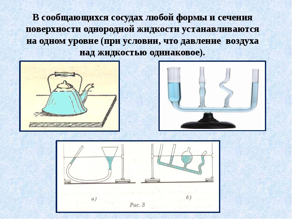 В сообщающихся сосудах любой формы и сечения поверхности однородной жидкости...