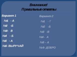 Внимание! Правильные ответы Вариант 1 №1 - А №2 -Б №3- В №4 - Б №5 - А №6- ВЫ