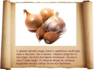 С давних времён люди знали о целебных свойствах лука и чеснока. Лук и чеснок
