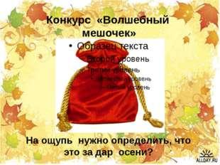 На ощупь нужно определить, что это за дар осени? Конкурс «Волшебный мешочек»