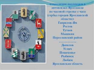 композиция над входом в автовокзал Ярославля по часовой стрелке с часа (гербы