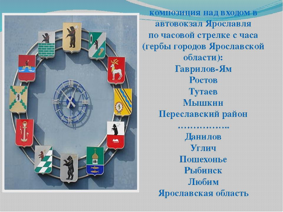 композиция над входом в автовокзал Ярославля по часовой стрелке с часа (гербы...