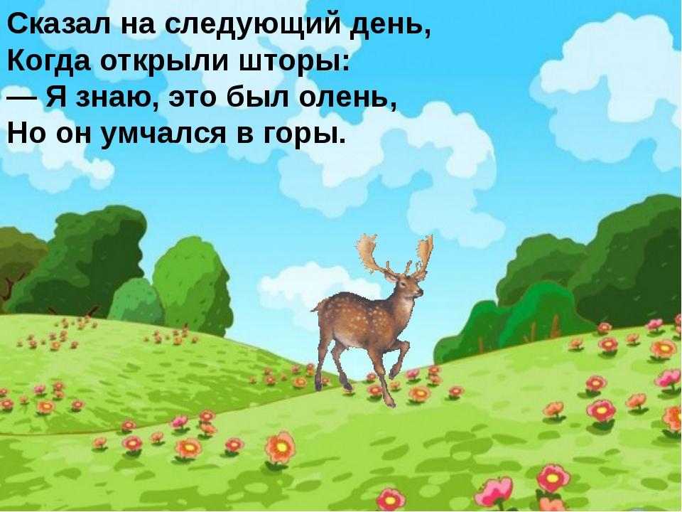 Сказал на следующий день, Когда открыли шторы: — Я знаю, это был олень, Но он...