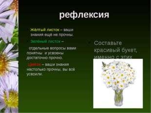 рефлексия Жёлтый листок – ваши знания ещё не прочны. Зелёный листок – отдельн