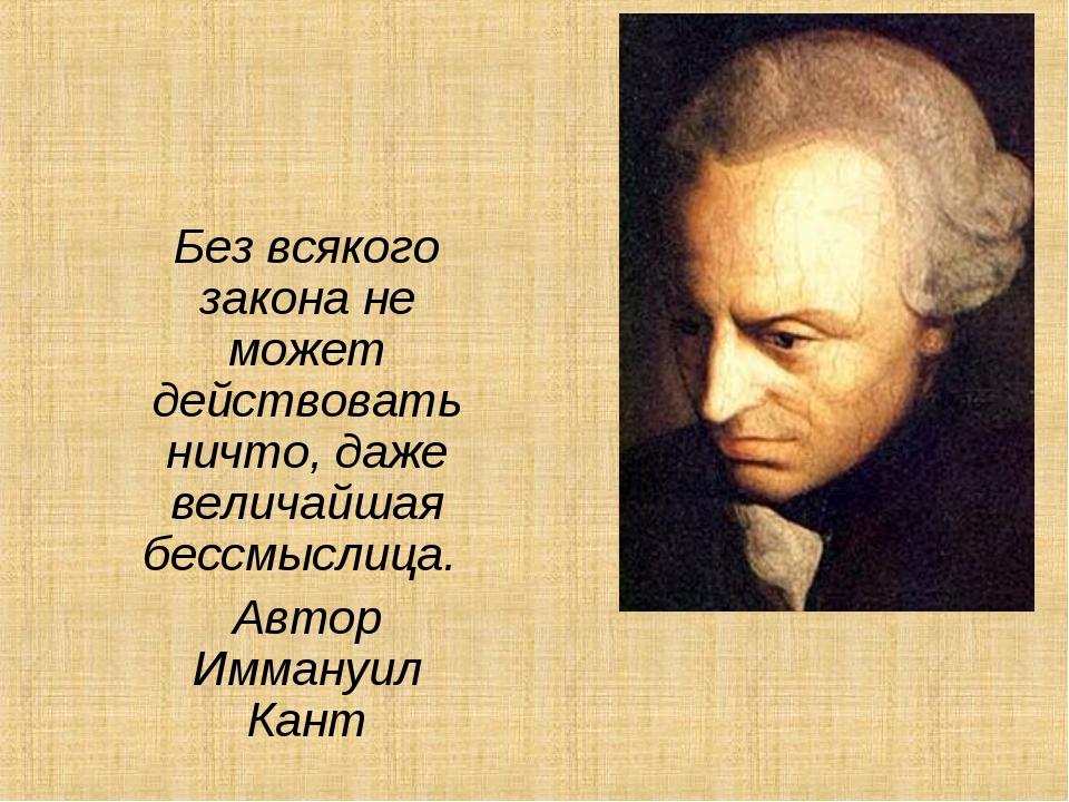Без всякого закона не может действовать ничто, даже величайшая бессмыслица. А...