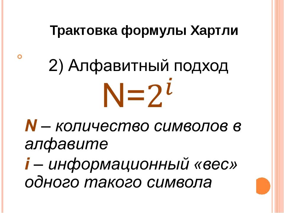 Трактовка формулы Хартли
