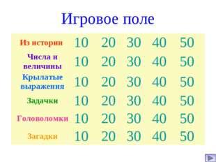 Игровое поле Из истории 1020304050 Числа и величины1020304050 Крыла