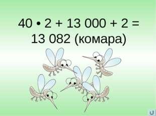 40 • 2 + 13 000 + 2 = 13 082 (комара)