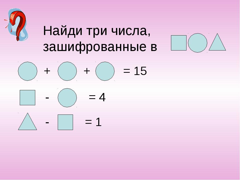Найди три числа, зашифрованные в + + = 15 - = 4 - = 1