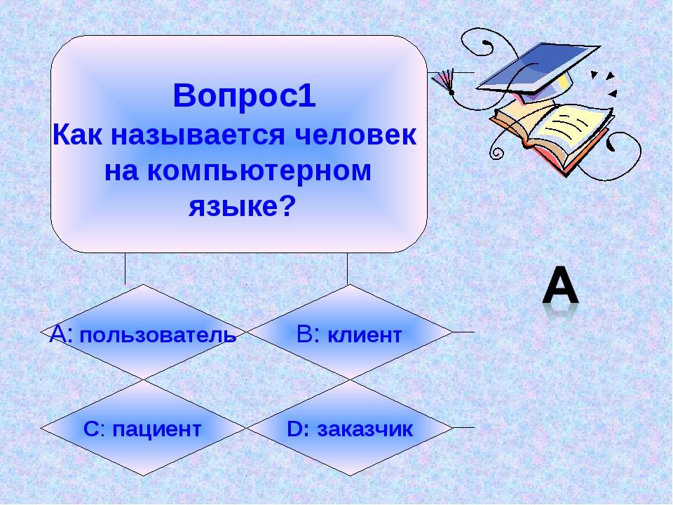 Вопрос1 Как называется человек на компьютерном языке? А: пользователь B: кли...