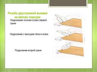Резьба двухгранной выемки на мягких породах Надрезание носком косяка первой г