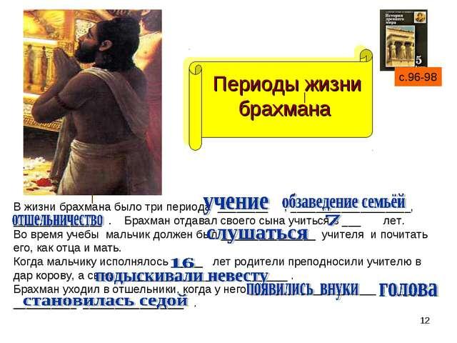 * Периоды жизни брахмана с.96-98 В жизни брахмана было три периода ________ ,...