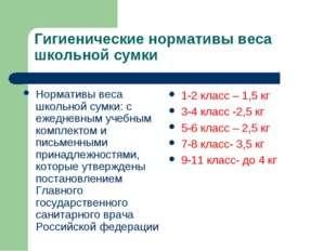 Гигиенические нормативы веса школьной сумки Нормативы веса школьной сумки: с