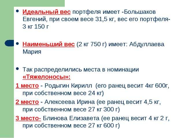 Идеальный вес портфеля имеет -Большаков Евгений, при своем весе 31,5 кг, вес...