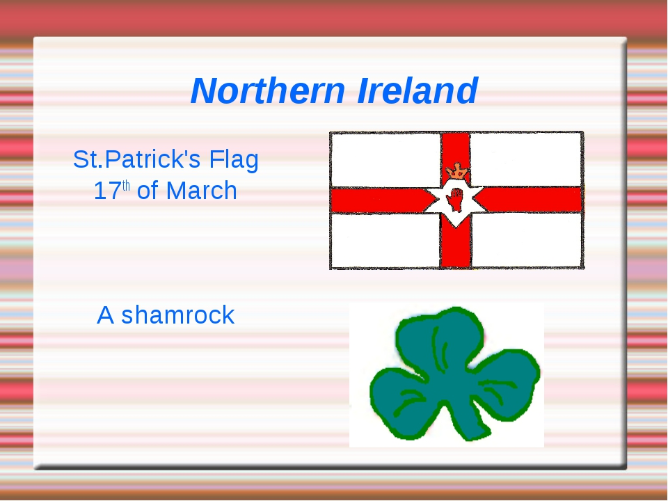 Northern Ireland St.Patrick's Flag 17th of March A shamrock