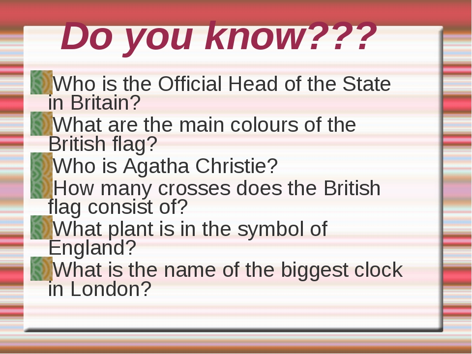 Do you know??? Who is the Official Head of the State in Britain? What are the...