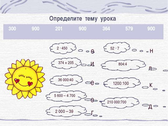 Определите тему урока н л е е и е д 2 000 – 39 1200:100 210 000:700 36 000:40...