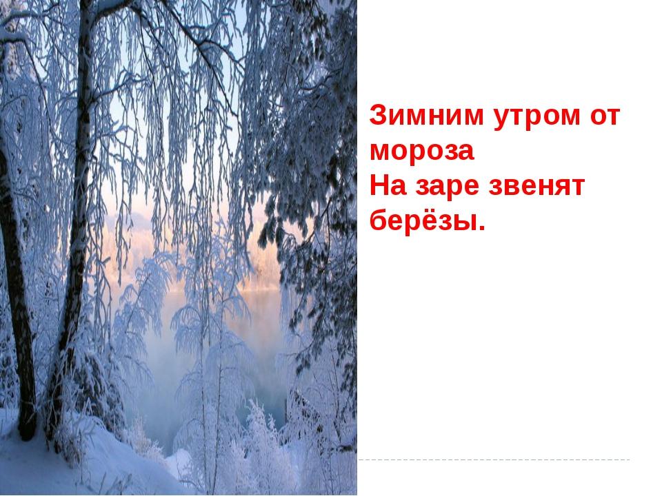 Зимним утром от мороза На заре звенят берёзы.