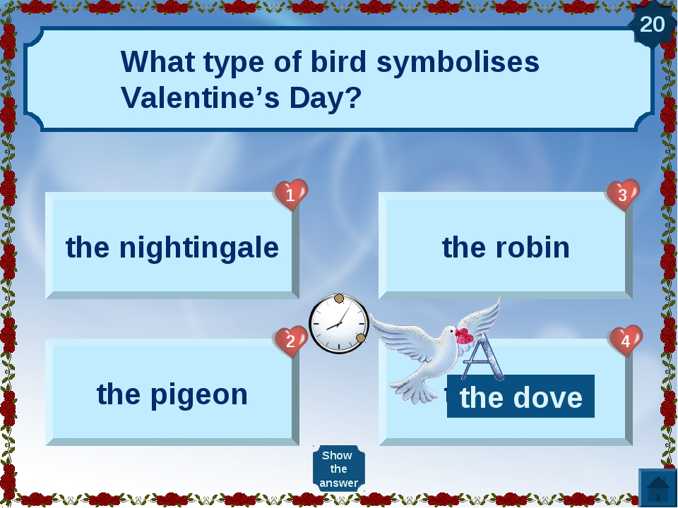 What type of bird symbolises Valentine's Day? the nightingale the pigeon the...