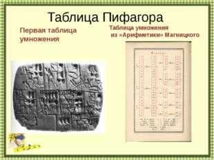 Таблица Пифагора http://aida.ucoz.ru Первая таблица умножения Таблица умножен