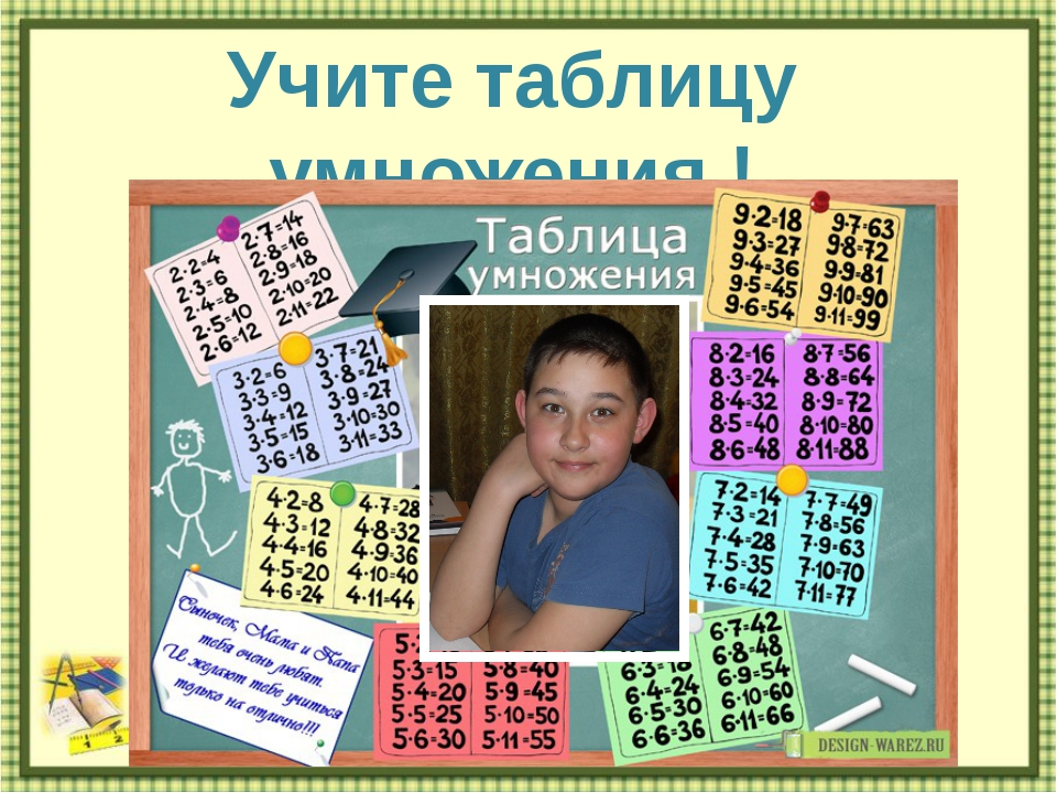 Учите таблицу умножения ! http://aida.ucoz.ru