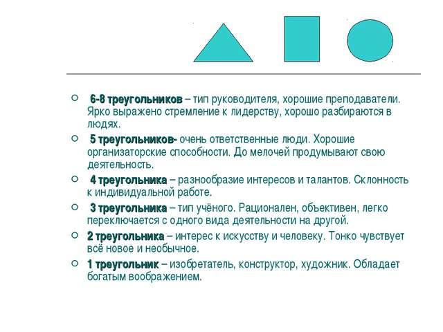 6-8 треугольников – тип руководителя, хорошие преподаватели. Ярко выражено с...