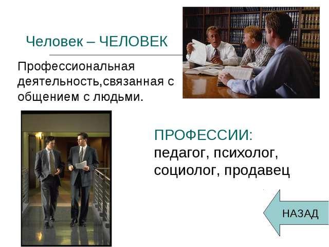 Человек – ЧЕЛОВЕК Профессиональная деятельность,связанная с общением с людьм...