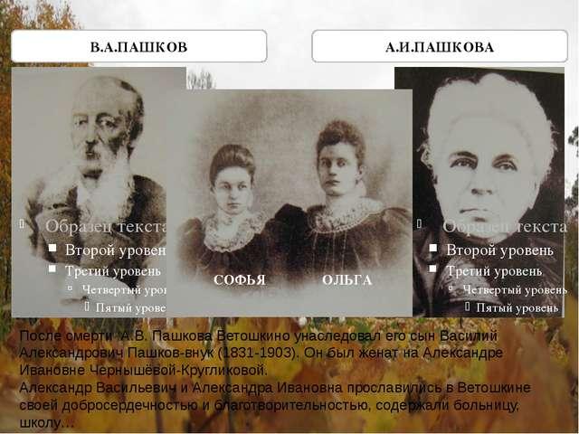 В.А.ПАШКОВ А.И.ПАШКОВА СОФЬЯ ОЛЬГА После смерти А.В. Пашкова Ветошкино унасле...