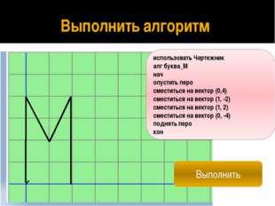 Составить алгоритм рисования слова «МАМА» использовать Чертежник алг МАМА нач