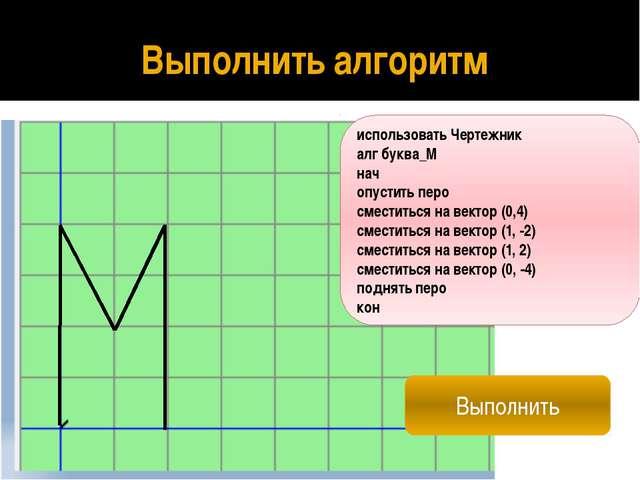 Составить алгоритм рисования слова «МАМА» использовать Чертежник алг МАМА нач...