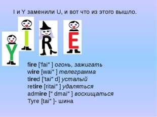I и Y заменили U, и вот что из этого вышло. fire['faiə]огонь, зажигать wire