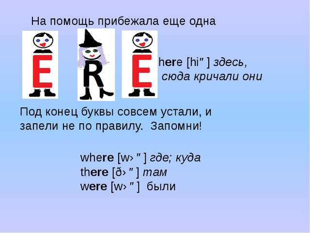 На помощь прибежала еще одна Е here[hiə]здесь, сюда кричали они where[wɛə]...