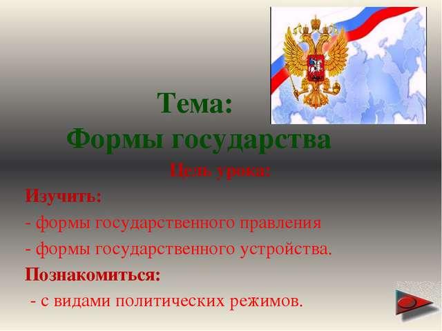 Формы государственного устройства УНИТАРНОЕ ФЕДЕРАЦИЯ КОНФЕДЕРАЦИЯ 1. 2. 3.