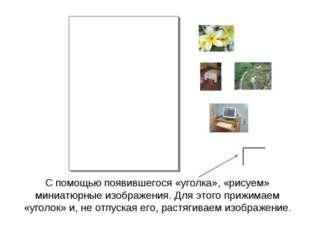 С помощью появившегося «уголка», «рисуем» миниатюрные изображения. Для этого