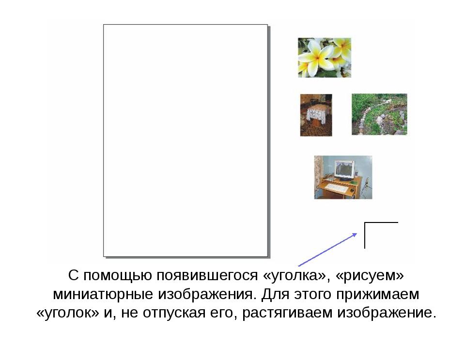 С помощью появившегося «уголка», «рисуем» миниатюрные изображения. Для этого...