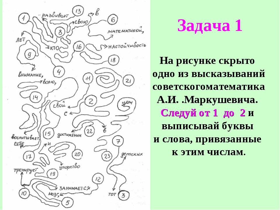 На рисунке скрыто одно из высказываний советскогоматематика А.И. .Маркушевича...