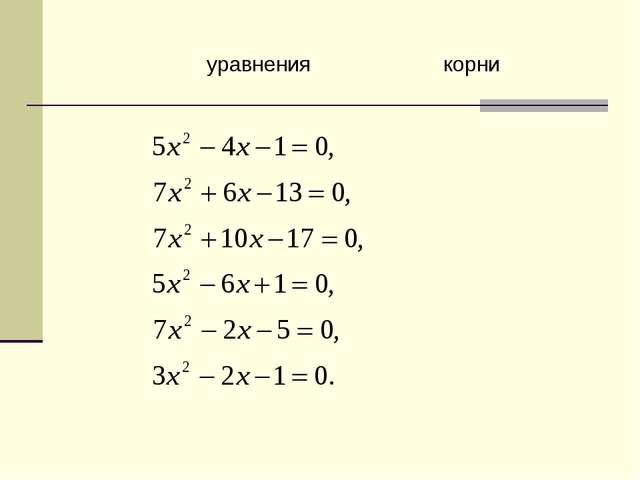 уравнениякорни