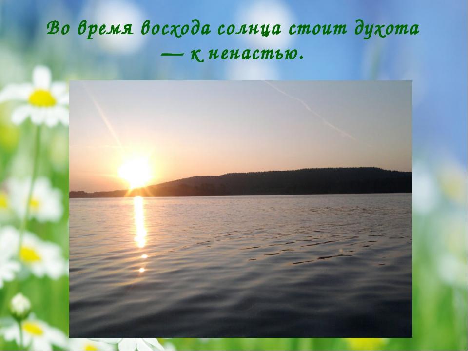 Во время восхода солнца стоит духота — к ненастью.
