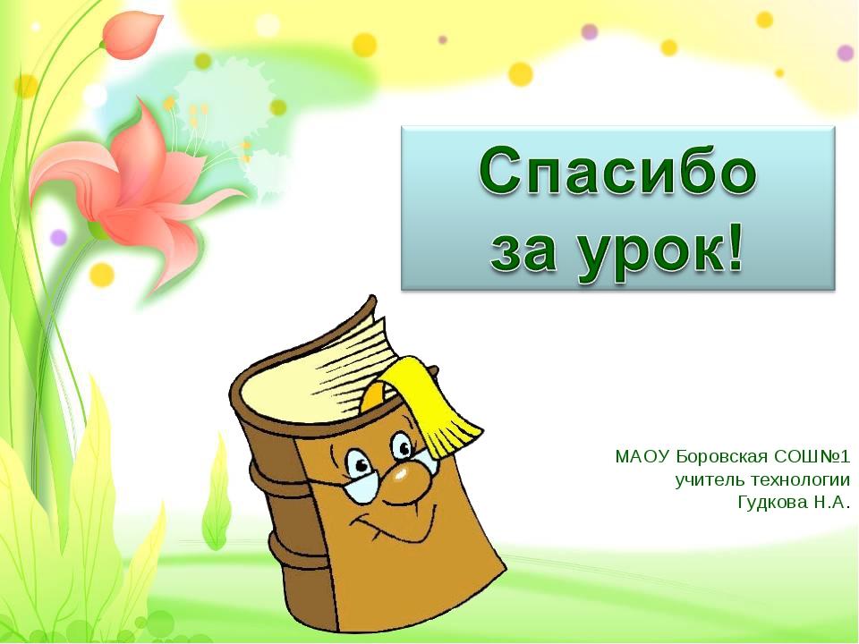 МАОУ Боровская СОШ№1 учитель технологии Гудкова Н.А.