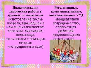 Практическая и творческая работа в группах по интересам (изготовление куклы-о