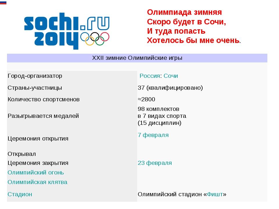 Олимпиада зимняя Скоро будет в Сочи, И туда попасть Хотелось бы мне очень. XX...