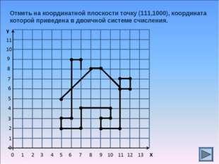 Отметь на координатной плоскости точку (111,1000), координата которой приведе
