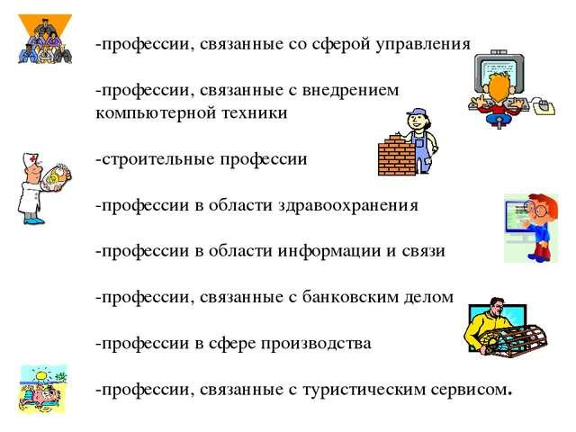 -профессии, связанные со сферой управления -профессии, связанные с внедрением...