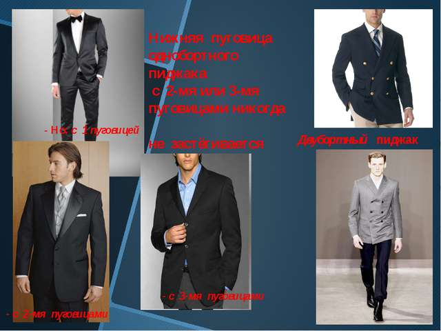 Нижняя пуговица однобортного пиджака с 2-мя или 3-мя пуговицами никогда не за...