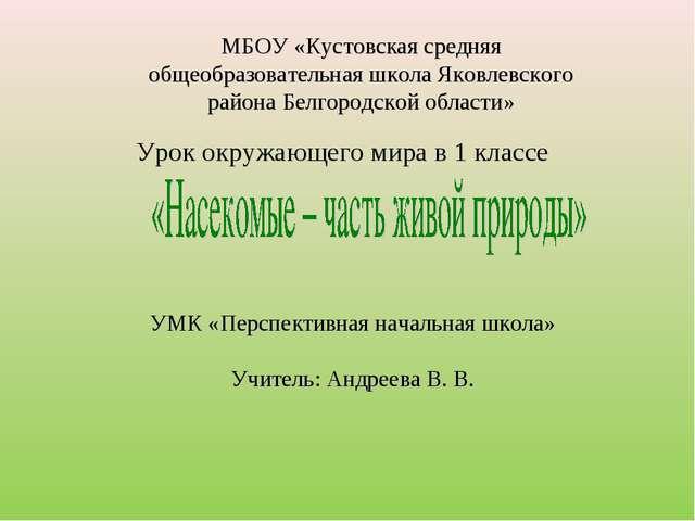 Урок окружающего мира в 1 классе МБОУ «Кустовская средняя общеобразовательная...