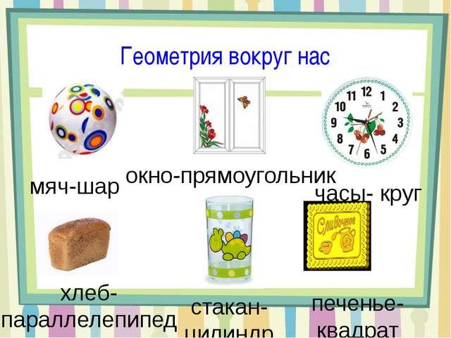 Геометрия вокруг нас мяч-шар окно-прямоугольник часы- круг хлеб- параллелепип...