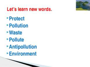 Protect Pollution Waste Pollute Antipollution Environment Let's learn new wor