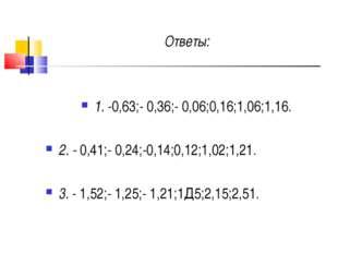 Ответы: 1. -0,63;- 0,36;- 0,06;0,16;1,06;1,16. 2. - 0,41;- 0,24;-0,14;0,12;1