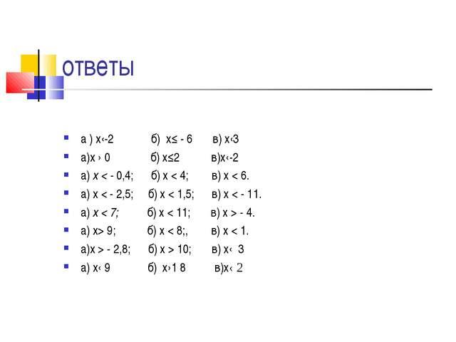 ответы а ) х‹-2 б) х≤ - 6 в) х‹3 а)х › 0 б) х≤2 в)х‹-2 а) х < - 0,4; б) х < 4...