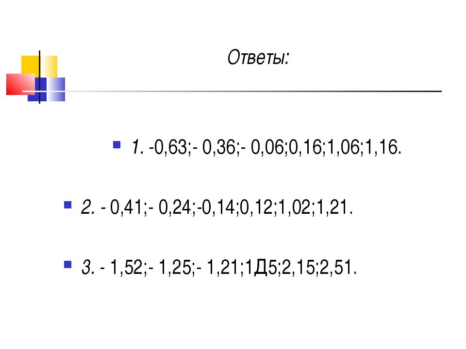 Ответы: 1. -0,63;- 0,36;- 0,06;0,16;1,06;1,16. 2. - 0,41;- 0,24;-0,14;0,12;1...
